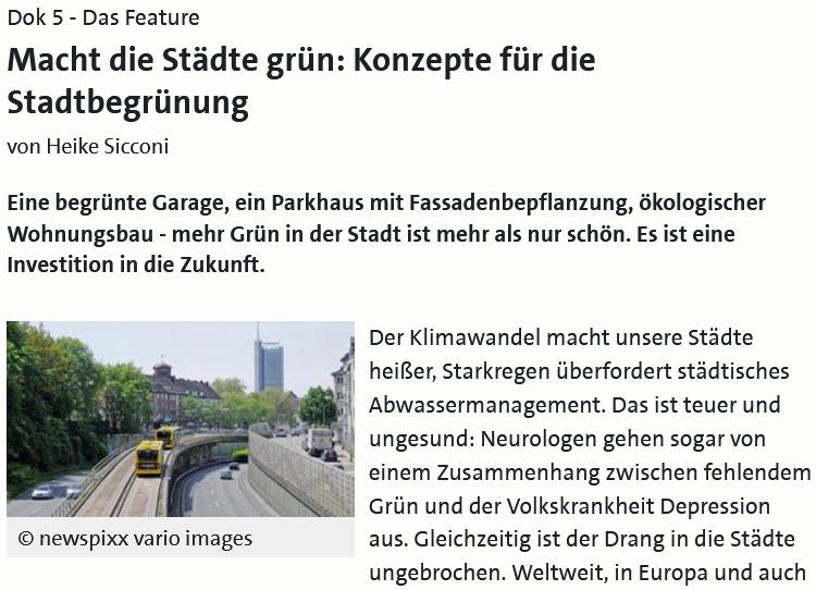 WDR Feature: Macht die Städte grün!